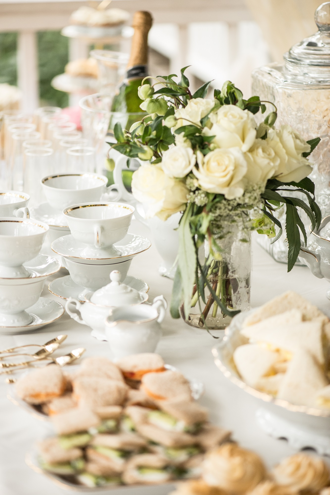 Gold And White Girls Tea Party Decorations China And Table Rental